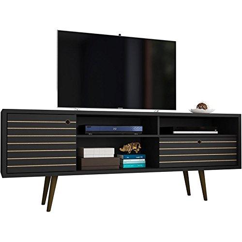 Manhattan Comfort 202AMC8 Liberty Mid-Century Modern Tv Stand, Large, Black ()