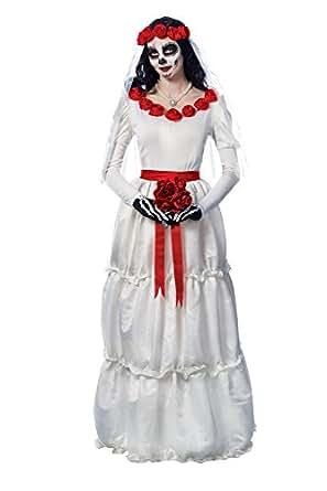 Disfraz de novia disfraz cultura mujer Day of the Dead Dia de los Muerto,  Blanco, M