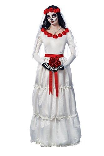 Costume Culture Women's Day Of The Dead Dia De Los Muerto's Bride Costume, White, Small (Dia Del Los Muertos Costume)