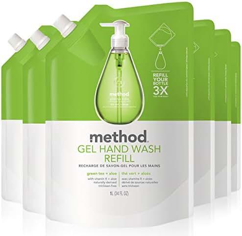Method Gel Hand Soap Refill, Green Tea + Aloe, 34 Fl Oz (Pack of 6)