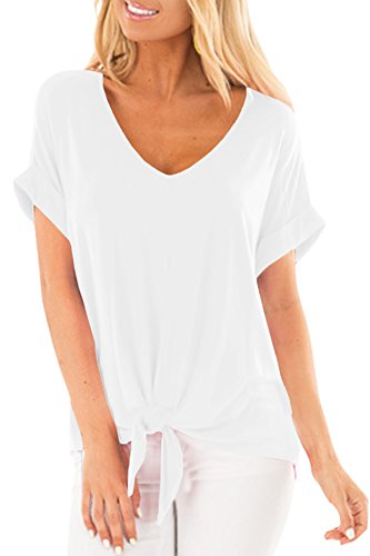 Womens V Neck Simple Summer Blouses Short Sleeve Casual Knot Tie Front Tee Tops White XL