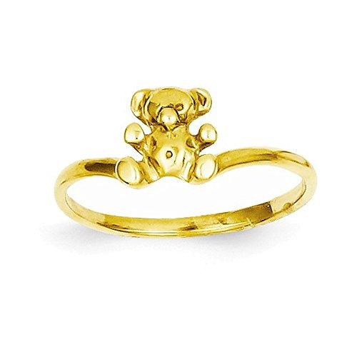 14k Bear Teddy Ring (14k Childs Polished Teddy Bear Ring)
