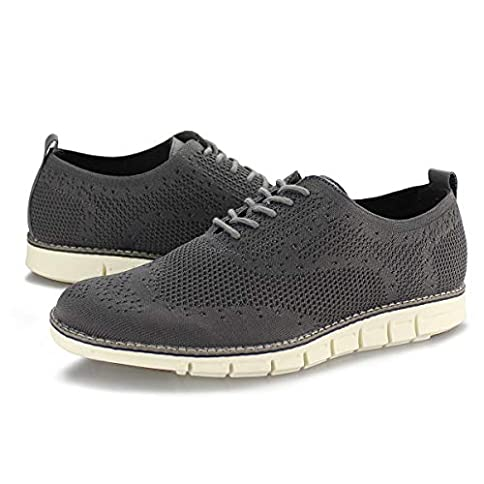 - 411 i50n tL - Hawkwell Men's Wingtip Oxford Shoes Casual Lace Up Dress Shoes Knit Sneaker