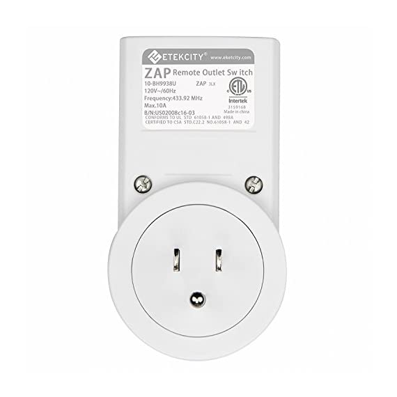 Etekcity Remote Control Outlet Kit Wireless Light Switch for Household Appliances, Unlimited Connections, Up to 100 ft. Range, FCC, ETL Listed, White (Learning Code, 3Rx-2Tx) 8 REMOTELY CONTROL hard-to-reach appliances and festival lights without ON/OFF switches at the push of a button, an ideal ally to those with limited mobility 100 FT. OPERATING RANGE: The remote outlet's strong RF signal works through doors and walls without interfering with other electronics; operating from as far as 100 ft. in line of sight EASY TO USE: Just take the remote control outlet kits out of box, insert the battery in remote and plug the outlet in your appliances, then you can set on your cozy sofa and enjoy the convenience