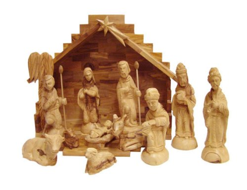 Olive Wood Nativity Set With Stable. Deluxe (15 Piece Set) by Holy Land Market