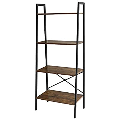 "LASUAVY Ladder Shelf, 4-Tier Bookshelf, Vintage Industrial Bookcase - ★4-Shelf Ladder Bookcase: Organize your books in any room around the house, and store and display any other belongings of your choice, with this versatile 4-Shelf Ladder Bookcase. ★Vintage Design: This durable 4-Shelf Ladder Bookcase has a super cool design that is sure to add a fun touch to the decor of any home and measures 22.1""L x 13.4""W x 53.9""H. Its fun vintage design adds a touch of whimsy to what could otherwise be a boring bookshelf, and brings some flair and style to whatever space it finds itself in. Don't worry at all about it falling over - you can conveniently put it near the wall. ★Premium Meterial: It is made of a strong and durable Iron and Chipboard material, and comes in an wood Look accent that will fit right in with any room. This reliable bookshelf has extremely spacious shelving planks, so that you can fit a decent number of books, picture frames, or mementos on each level. Each one can impressively hold up to 12Ibs, allowing you to store and display even your heaviest books and keepsakes. - living-room-furniture, living-room, bookcases-bookshelves - 411 iKUzuIL. SS400  -"