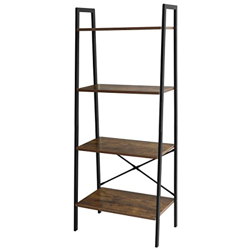 Lasuavy 4-Tier Ladder Shelf Bookcase Multifunctional Book Rack Storage Shelves Plant Flower Stand Rack, Premium Wood Furniture for Home, Office, Bathroom, Living (Furniture Ladder)