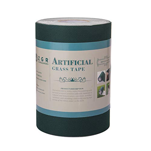 ZGR Artificial Grass Self Adhesive Seaming Turf Tape, for Fixing Fake Grass, Carpet Jointing Lawn Turf, Connecting Synthetic Turf Lawn Mat Rug, Easy to use, Non-Slip, 6in x 32.8ft (15cm x 10m) from ZGR HOME&GARDEN