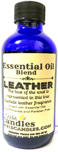 Leather 4oz / 118.29ml Blue Glass Bottle of Essential Oil Bl