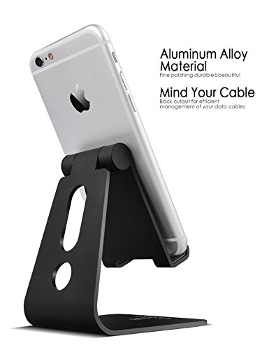 Adjustable Cell Phone Stand, Lamicall iPhone Stand : [UPDATE VERSION] Cradle, Dock, Holder For Switch, iPhone 8 X 7 6 6s Plus 5 5s 5c charging, Accessories Desk, all Android Smartphone - Black