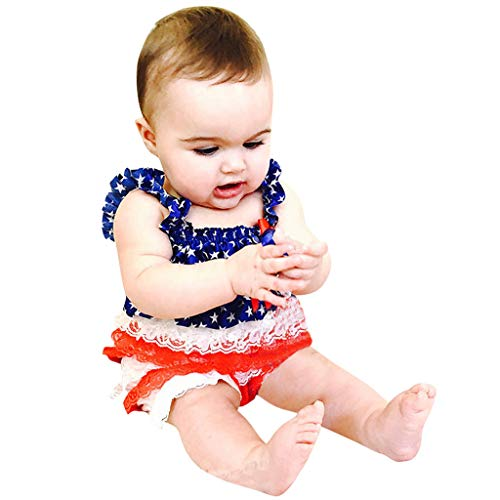 Infant Baby Boys Girls Romper, Lace Ruffle Stars Striped 4th of July Jumpsuit for Toddler Kids Outfit Red]()