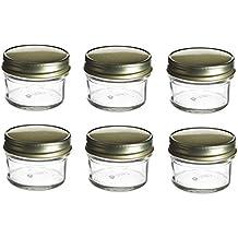 Nakpunar 6 pcs, 4 oz Mason Glass Jars with Gold Lids