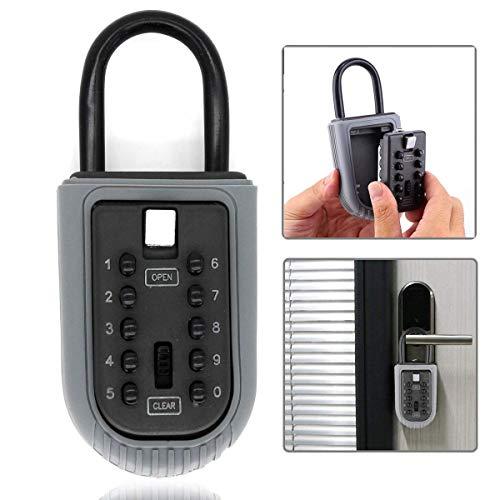 Key Lock Box,Realtor Key Lock Box Safe Lockbox 10-Digit Push Button Combination Safe Vault - Portable Outdoor Stor a Key - Door Handle or Fence Mount