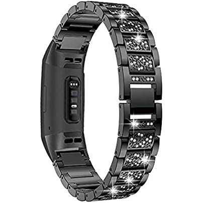 Myada Compatible for Fitbit Charge Strap for Women Diamond Rhinestone Bling Glitter Wrist Strap Metal Buckle Bracelet Sport Wristband Replacement Strap for Fitbit Charge Fitness Tracker Black Estimated Price £12.99 -