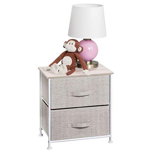 mDesign Short Vertical Dresser Storage Tower - Sturdy Steel Frame, Wood Top, Easy Pull Fabric Bins - Organizer Unit for Child/Kids Bedroom or Nursery - Textured Print - 2 Drawers ()