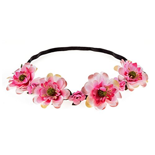 Luau Outfits For Adults (RoyaLily Music Beach Luau Party Rose Flower Headband Boho Flower Halo Crown (Pink))