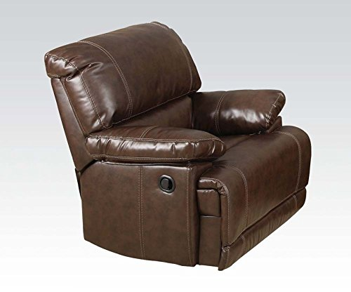 Chestnut Leather Recliner (Daishiro Bonded Leather Recliner in Chestnut Finish by Acme)