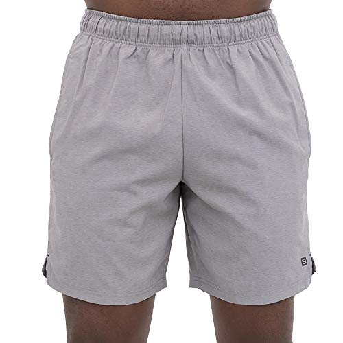 Layer 8 Men's Hybrid All Purpose Stretch Woven Athletic Shorts (Large, Mineral Grey/Chambray)