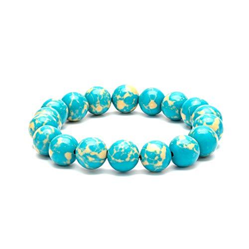eletout Handmade 10mm Round Natural Semi PreciousGemstone Beaded Stretch Solid Color Bracelets (Sky Stone)