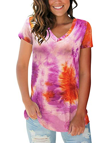 Womens Casual Short Sleeve Shirts V Neck Tie Dye Tops