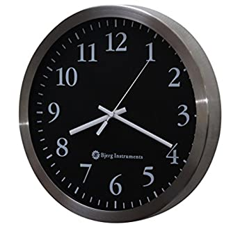 Bjerg Instruments Modern 12 Stainless Silent Wall Clock with Non Ticking Quiet and Accurate Movement