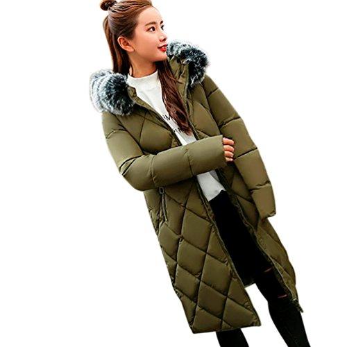 Colorful(TM) Frauen Feste Dicker Winter Slim Warm Lammy Jacke Haar Kragen Mantel Armeegrün