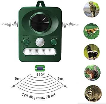 Repelente de Gatos, Repelente Ultrasónico para Animales, para Exterior, Resistente al Agua. Detector de Perros, Gatos, etc con estaca (Palo) para Tierra, Jardine
