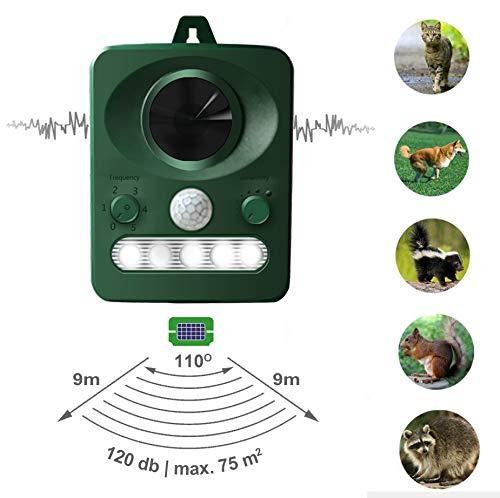LEBANDWIT Cat Repellent Solar BirdScarer, FoxDeterrent, Ultrasonic Pest Repellent, Rodent Dog Repeller with PIR Sensor for Farm Yard Garden Grassland