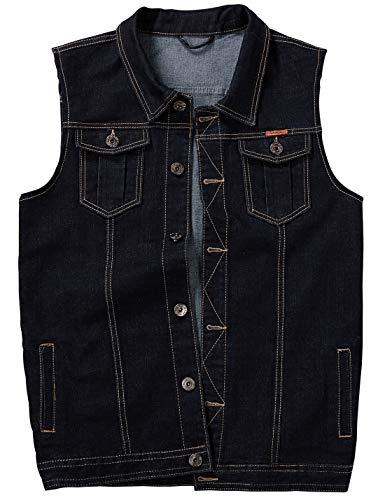 Jenkoon Men's Casual Sleeveless Lapel Jean Denim Vest Jacket (Black, XX-Large)