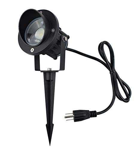 J.LUMI GBS9809 LED Outdoor Spotlight 9W, 120V AC, Replaces 75W Halogen, Metal Ground Stake, Daylight White, Outdoor Flag Light, Landscape Spotlight, UL-Listed Cord with Plug, Not Dimmable ()