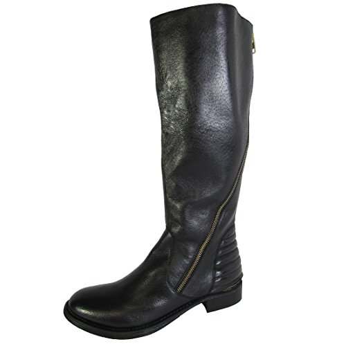 Steve Madden Womens Abbyy-W Wide Calf Riding Boot Shoe, Black Leather, US...