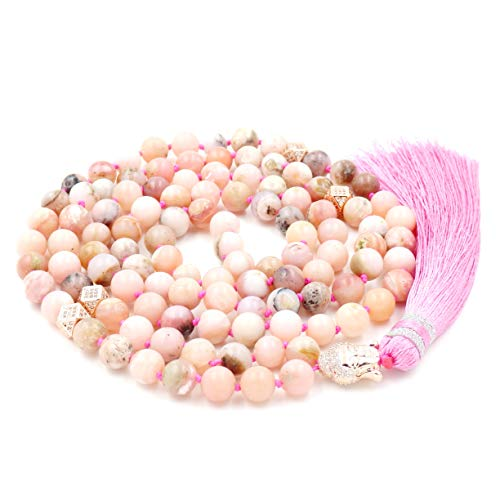 - Mala Beads Necklace, Gemstone Mala Bracelet, Buddhist Prayer Beads Necklace, Tassel Necklace, Knotted Necklace (Pink Opal)