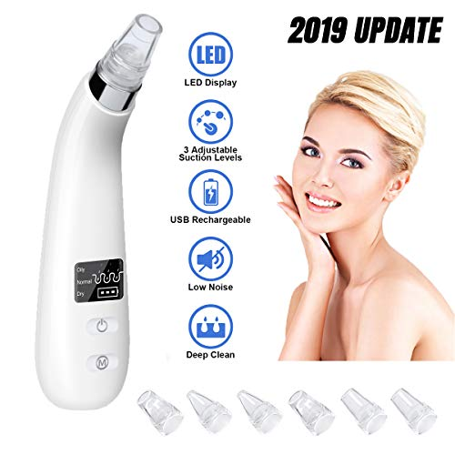 Blackhead Remover Electric Pore Vacuum Acne Comedone Skin Cleaner Blackhead Removal Comedo Extractor Kit 6 Suction Heads Blackhead USB Rechargeable Beauty Device for Facial Skin Treatment