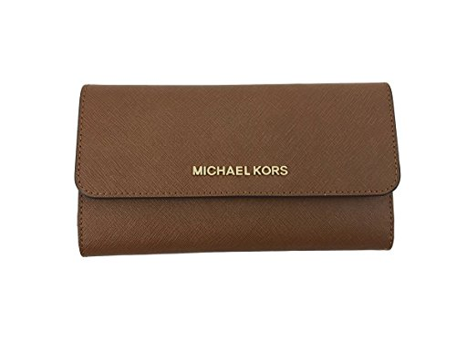 Michael Kors Jet Set Travel Large Trifold Leather Wallet (Luggage)