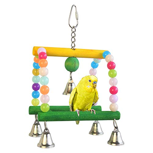 ZKYSO Acrylic Beads Bird Toys Double Swing Colorful Cages Perfect Adornment Training Tools with Bells
