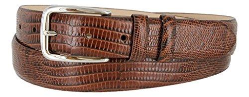 Hagora Men's Eclectic Skin Textures Genuine Italian Calfskin Leather Buckle Belt,Lizard Brown (Embossed Woven Belt)