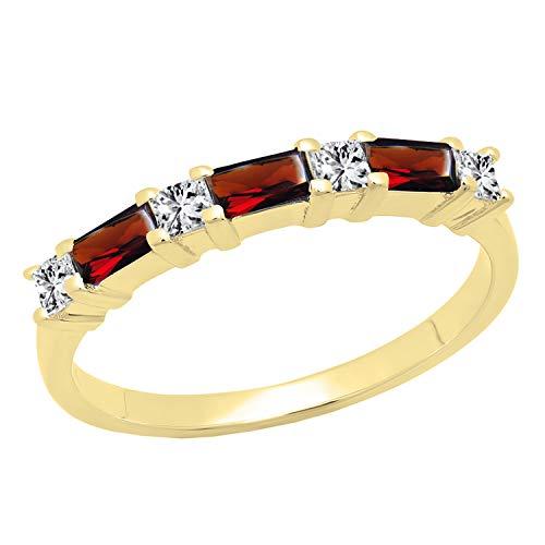 Dazzlingrock Collection 10K 4X2 MM Baguette Garnet & Princess Diamond Ladies Wedding Band, Yellow Gold, Size 9 ()