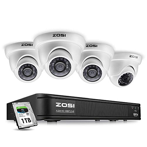 ZOSI 8 Channel HD-TVI 1080p CCTV Camera Security System,1080p 4-in-1 Surveillance DVR Recorder with 1TB HDD and (4) 2.0MP 1920TVL Outdoor/Indoor Day Night Vision Security Cameras ()