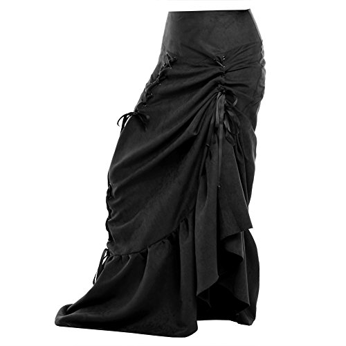 BLESSUME Women Victorian Punk Corset Skirt High-Low (Black, S)]()