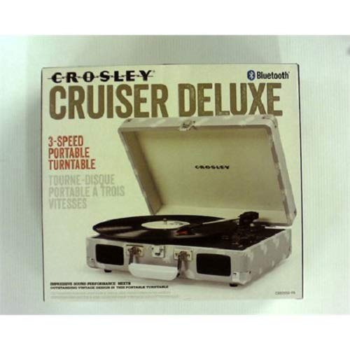 Crosley Cruiser Deluxe Portable 3-Speed Turntable with Bluetooth (CR8005D) with RCA Output (Gray) (Player Crosley Grey Record)