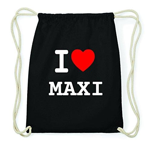 JOllify MAXI Hipster Turnbeutel Tasche Rucksack aus Baumwolle - Farbe: schwarz Design: I love- Ich liebe 7EL5ENXW