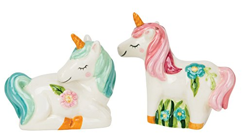 Boston Warehouse Salt & Pepper Shakers, Glamour Unicorn Collection, Hand Painted Ceramic