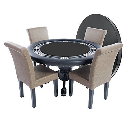 BBO Poker Nighthawk Poker Table for 8 Players with Black Speed Cloth Playing Surface, 55-Inch Round, Includes Matching Dining Top with 4 Lounge Chairs