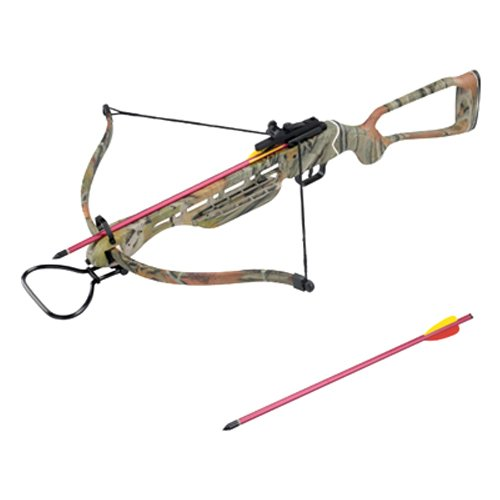 150 lbs Camo Hunting Crossbow w/ Scope, 8 Arrows, & Rope Cocking Device (Autumn Camo)