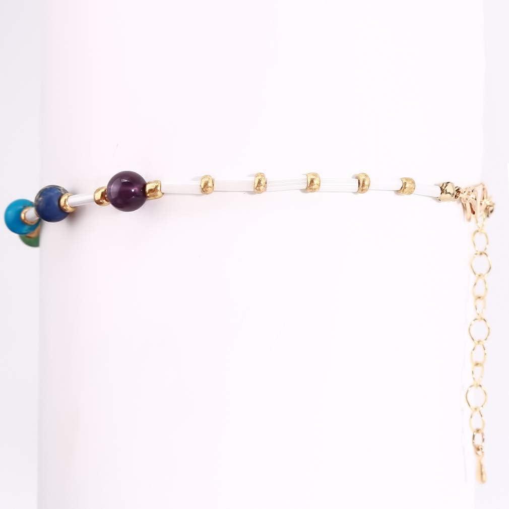 WEIHEEE Rainbow Bead Anklet Perles multicouches tiss/ées Cha/îne de pied /Élastique D/écoration r/églable pour Yoga