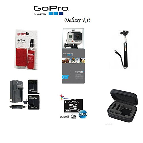 Gopro Hero3+ Silver Edition Camera -Chdhn-302-kit- Starter Kit Includes, 32gb Micro Sd, Cleaning Kit, Battery, Battery Charger and Monpod by best online service
