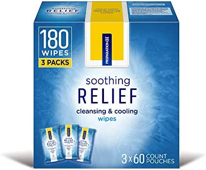 Preparation H Soothing Relief Cleansing and Cooling Wipes, Flushable Wipes with Witch Hazel for Hemorrhoidal Butt Itch, 60 Count (Pack of three)