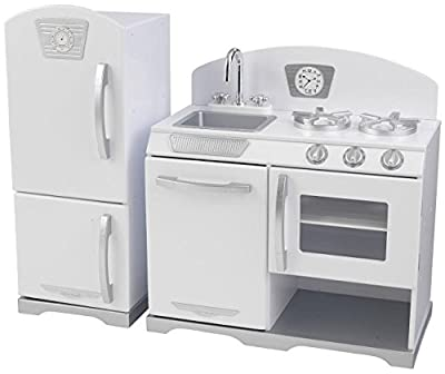 KidKraft Retro Kitchen and Refrigerator (2-Piece), White