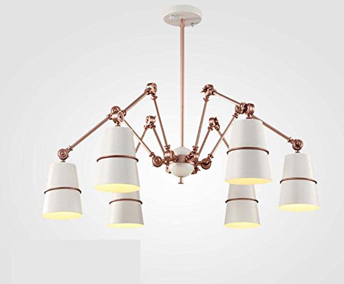 Onfly Retractable Spider Chandeliers,creative 3/6/8/10/15 Head Downlight Pendant Lamp,iron Multi-angle Adjustment Hanging Lamp,KTV/villas Deco Lamp(without Bulb) (Color : White, Size : 6 - Pendant Light 6 Deco
