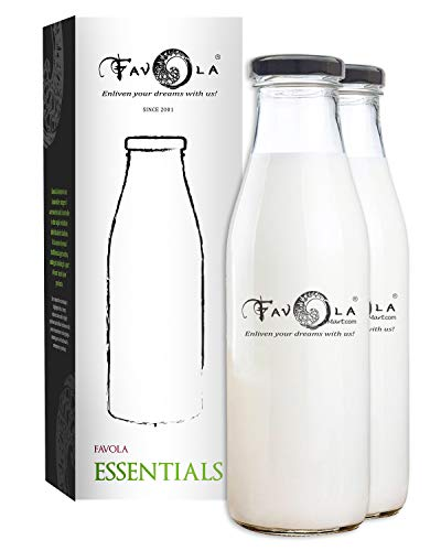 Favola Old Fashioned Round Milk and Water Glass Bottle, Clear, 1000 ml, Black Lid, Set of 2 Price & Reviews